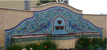 """Peacock Fountain"" by Mission Tile"