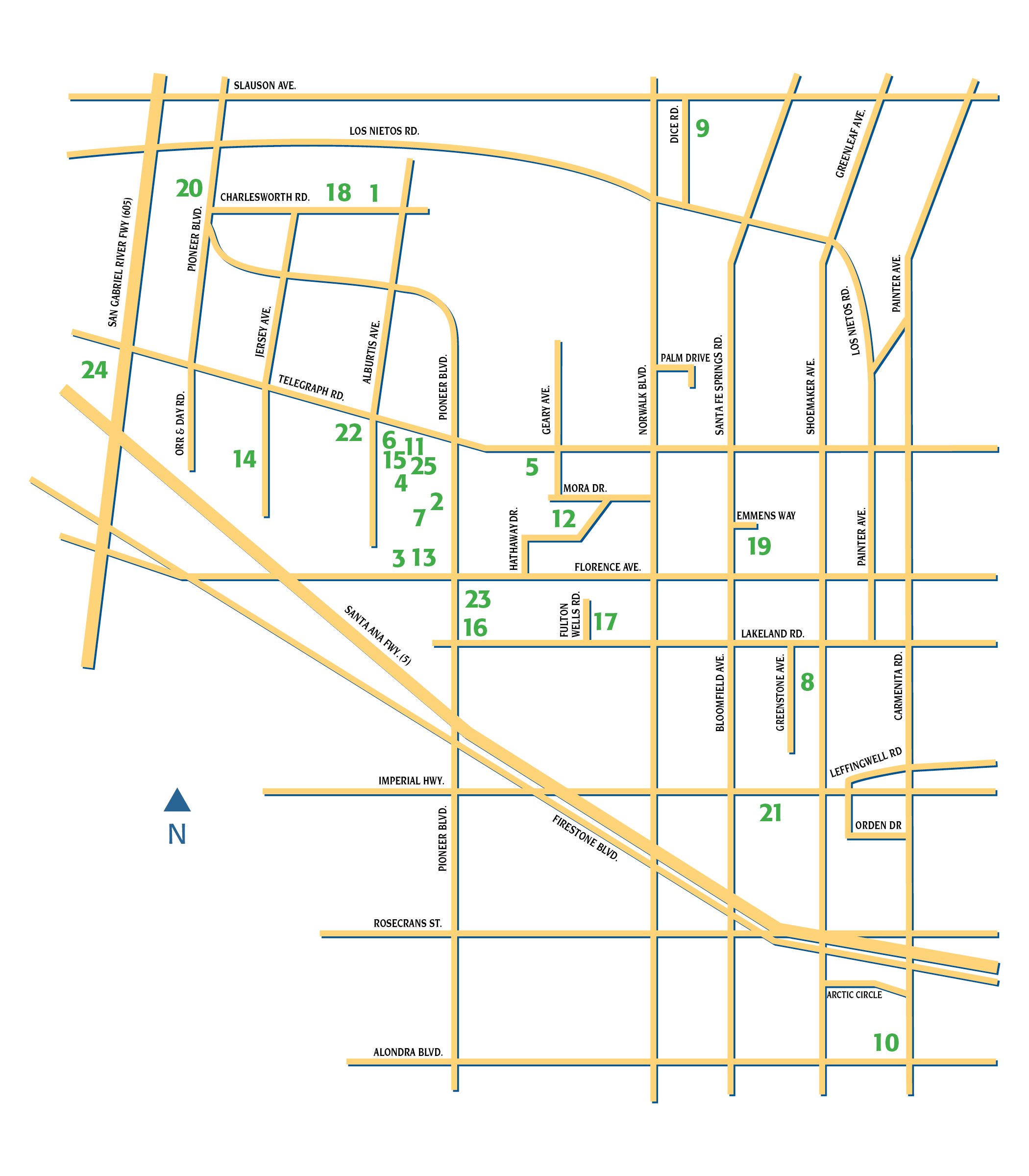 Santa Fe Springs, CA - Facility Map on